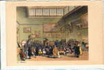 Colored Aquatint of Christie's Auction Room