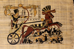 Egyptian papyrus painting (modern copy) with charioteer