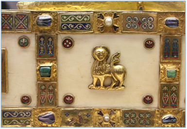 Detail of ox of Luke, Reliquary Sandal of St. Andrew, Trier Cathedral Treasury, 977-93, Ottonian or Romanesque, metalwork, gold, silver, enamel, gems. Photo: Asa Mittman.