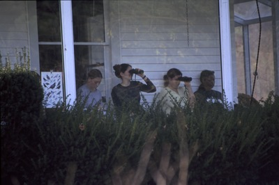 Student observers on porch-Biology 262