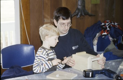 Children and Father BFEC Bluebird house construction