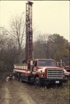 KCES Pond project: well drilling at prarie edge, drilling rig