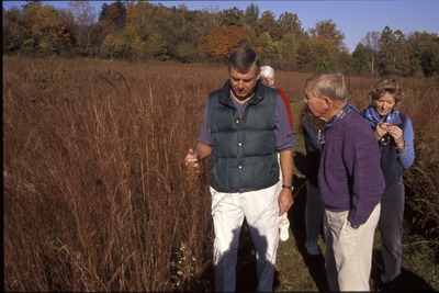 BFEC Advisory meeting, Guy Denny showing prarie to Jeff Robinson and Florence Short