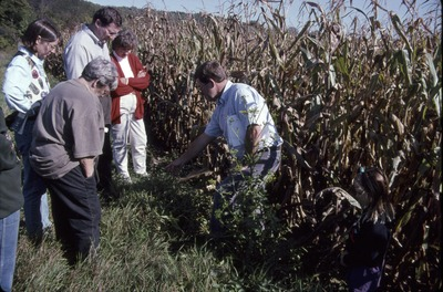 Mike Dailey weed walk group at edge of corn field