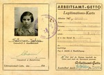 Litzmannstadt Ghetto ID Work Permit For Ita Marien Kaltman
