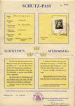 Hungarian Schutz-Pass for Eva Lederer with Swedish Diplomat and Ambassador Carl Ivan Danielsson Signature and Raoul Wallenberg Initials