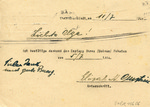 Package Receipt Acknolwedgement to Josef Tsh Gripfel, Lazenhof, from Pinkas Hoffmann, Theresienstadt Ghetto