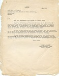 Letter from Chief Surgeon of U.S. Army Paul Hawley to Dr. K.H. Bauer, University of Heidelberg