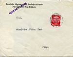 Envelope from German Agricultural and Industrial Bank , Aryanized and Absorbed by Deutsche Bank