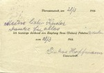 Theresienstadt Ghetto Package Receipt Acknowledgement