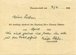 Postcard Package Receipt from Theresienstadt Ghetto