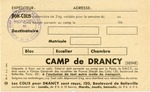 Drancy, France Internment Camp Food Package Card