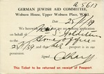 Notice from the German Jewish Aid Committee in London to Salome Goldstein (German Family Escapes the Holocaust)
