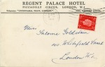 Postcard to Miss Salome Goldstein, London from Regent Palace Hotel, London (German Family Escapes the Holocaust)