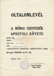 Protective Pass issued to Hungarian Jew by Papal Nuncio Cardinal Rotta in Budapest