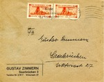 Envelope from Saarbrucken, Franked by 1934 Plebiscite Overprinted Issue and Tied by Machine Slogan Cancel