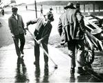Jewish Man Scrubbing Street