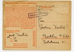 Early Postcard Sent from Buchenwald Concentration Camp