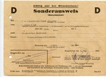 Sonderausweis Issued to Obersturmbannfuhrer Hoppner