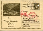 "Censored Postcard to Bella Janowitz Interned in ""Concentration Camp"" on Island of Rhodes,"