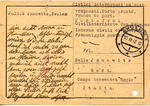 "Censored Postcard to Bella Janowitz, Civilian Intern in ""Concentration Camp"" on Island of Rhodes,"