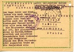 Postcard from Slovakia to Ferramonti-Tarsia Internment Camp