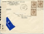 Censored Envelope sent from Central Council for Jewish Refugees in London to New York
