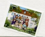 French Stamp Commemorating the 44 Jewish Children From Izieu Murdered at Auschwitz in April, 1944