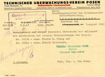 Technischer Uberwachungs-verein posen (Poznan Technical Surveillance Association) Document
