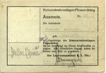 Ausweis Issued to Elfriede Förster, Flossenberg Concentration Camp