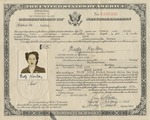 U.S. Certificate of Naturalization for Gerdy Kaston (formerly Gertrude Katzenstein)