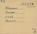 Concentration Camp Death Notice for Isidor Chemiker Klausner on Biala Cigarette Paper