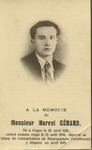 Funeral Card for Marcel Gerard
