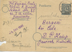 Postcard Looking for Feldman Brajndel at Bergen-Belsen Displaced Persons Camp