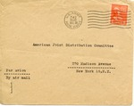Envelope from the United National Relief and Rehabilitation Administration sent from APO 742 (Germany)