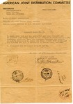 Letter from the American Joint Distribution Committee Concerning Displaced Persons