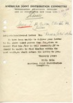The American Joint Distribution Committee as Courier post-World War II Letter, Sent from APO 411 (Linz)