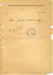The American Joint Distribution Committee as Courier post-World War II Letter