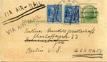 Israel Postcard from New York to Berlin Currency Exchange On Eve of World War II