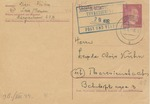 Postcard from Daughter Mizzi Kuhn in Epping, Austria to Father in Theresienstadt with Ghetto Receiving Cancel