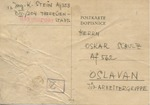 Postcard from K. Stein in Theresienstadt Ghetto to Friend OSkar Schulz in Oslvan Jewish Labor Camp (Arbeitergrupped).  GHETTOPOST Handstamp and Censor Mark