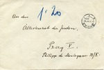 "Envelope Addressed to ""Ältestenrat der Juden"" (Eldest of the Jews) from Theresienstadt Survivor"