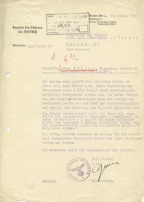 Letter from Werner Blankenburg
