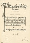 Certificate Signed by Adolf Hitler