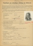 """Fragebogen, or Questionnaire Asking for Ancestry and Profession for Jew, Stamped with """"Jude"""""""