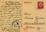 Postcard Sent by Woman Before Her Deportation