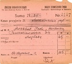 Receipt Issued by the Judischer Handwerkerverband (Jewish Craftsmen Association) in the Ghetto of Radom