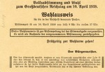 German Occupation Austria Plebiscite Ballot - Registration Postcard