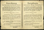 Government Notice of Typhus in Radom, Poland Poster