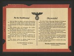Broadside Announcing the German Occupation of Poland
